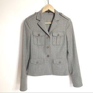 THEORY // Grey wool military-style blazer jacket 2